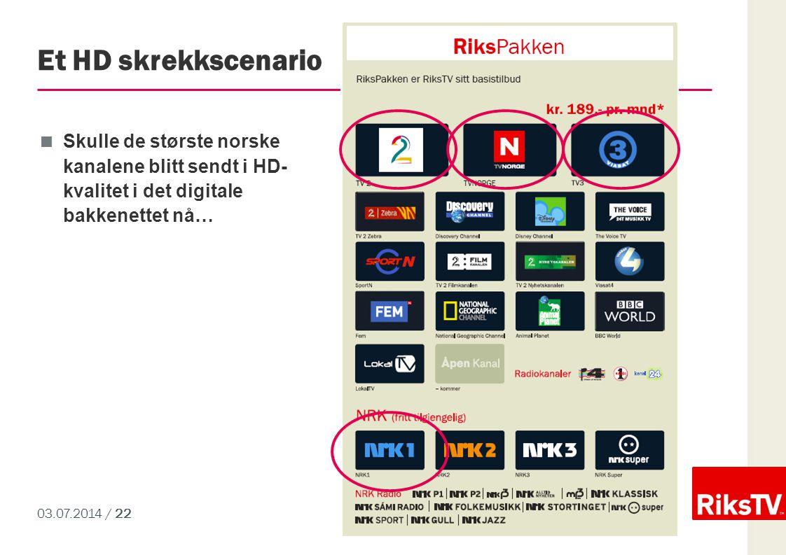 03.07.2014 / 22 Et HD skrekkscenario  Skulle de største norske kanalene blitt sendt i HD- kvalitet i det digitale bakkenettet nå…