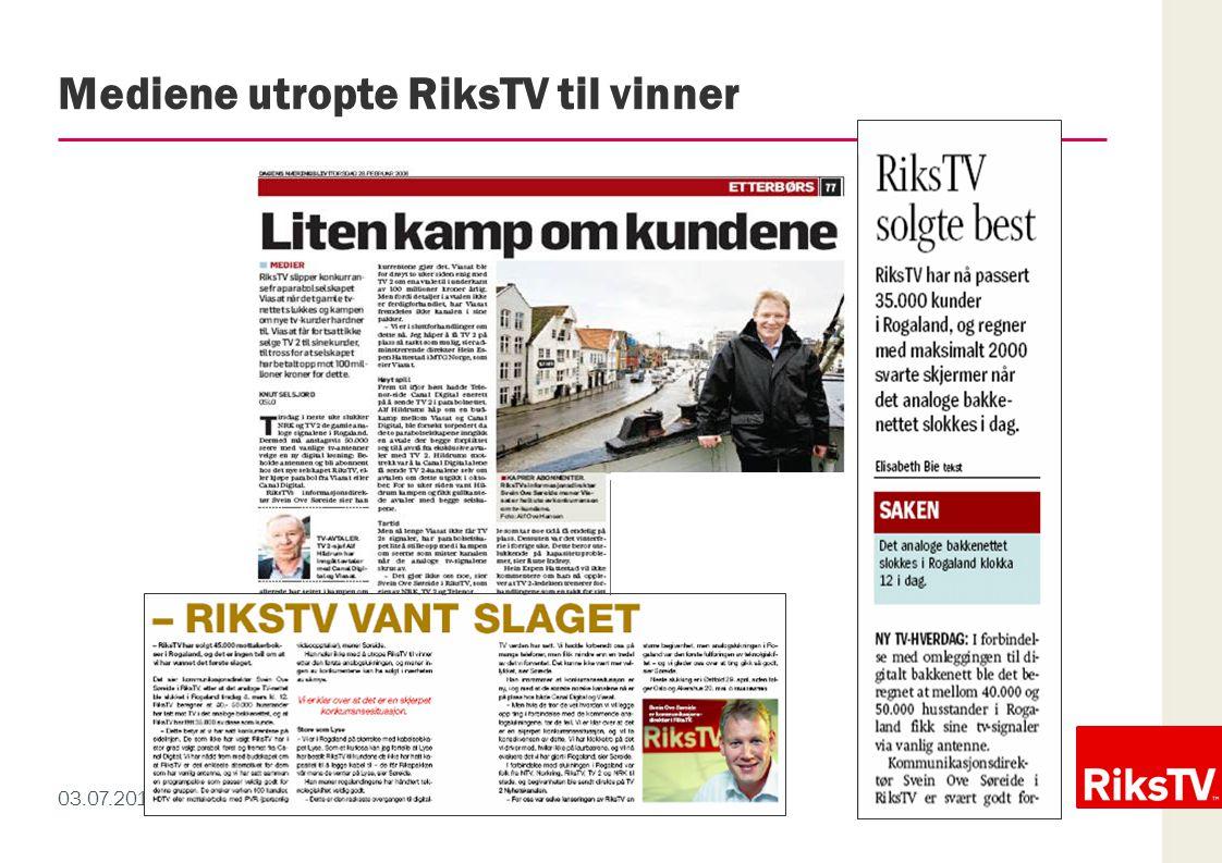 03.07.2014 / 7 Mediene utropte RiksTV til vinner