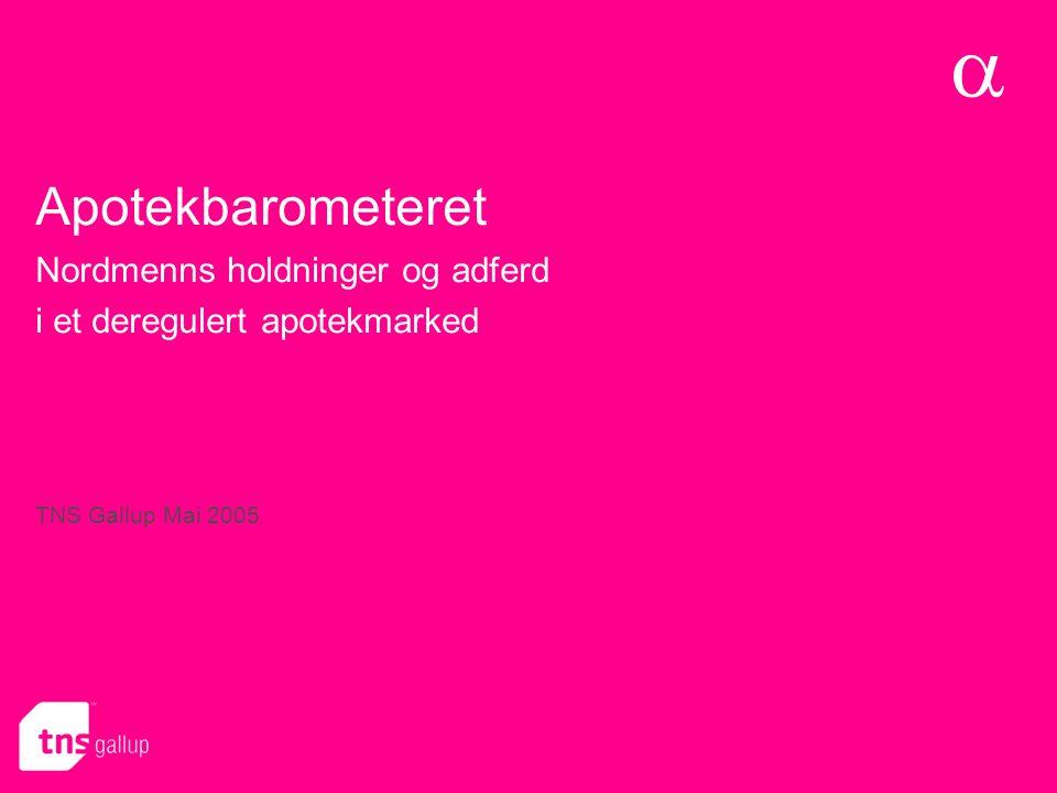 Apotek- barometeret  Apotekbarometeret Nordmenns holdninger og adferd i et deregulert apotekmarked TNS Gallup Mai 2005 