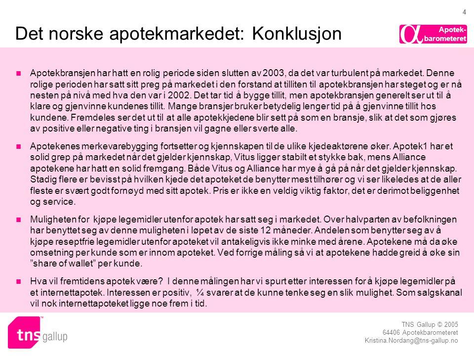 Apotek- barometeret  TNS Gallup © 2005 64406 Apotekbarometeret Kristina.Nordang@tns-gallup.no 4 Det norske apotekmarkedet: Konklusjon  Apotekbransje