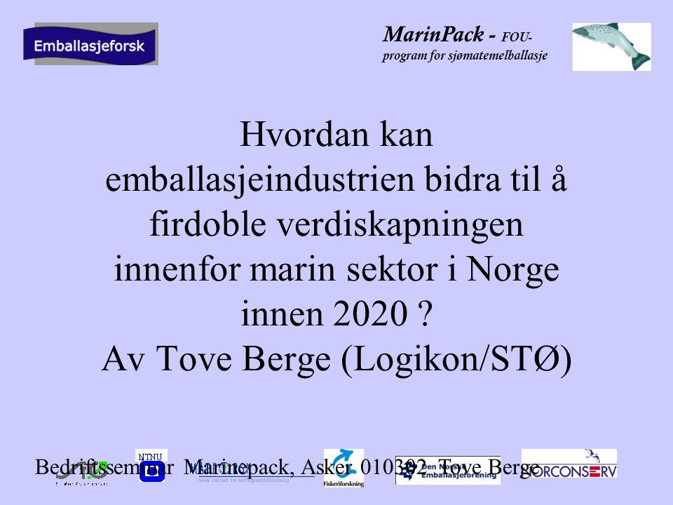 MarinPack - FOU- program for sjømatemelballasje Eksportindustriens behov Optimal emballasje –Minst mulig emballasje –Beskytte og bevare produktet –Forbedre produktet (add value) .