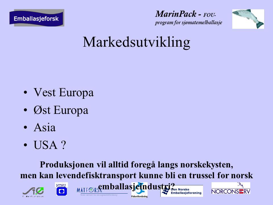 MarinPack - FOU- program for sjømatemelballasje Markedsutvikling •Vest Europa •Øst Europa •Asia •USA .