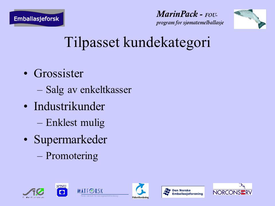 MarinPack - FOU- program for sjømatemelballasje Tilpasset kundekategori •Grossister –Salg av enkeltkasser •Industrikunder –Enklest mulig •Supermarkeder –Promotering