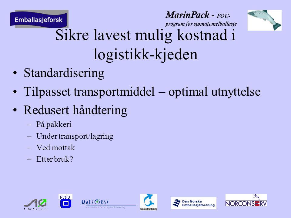 MarinPack - FOU- program for sjømatemelballasje Sikre lavest mulig kostnad i logistikk-kjeden •Standardisering •Tilpasset transportmiddel – optimal utnyttelse •Redusert håndtering –På pakkeri –Under transport/lagring –Ved mottak –Etter bruk?