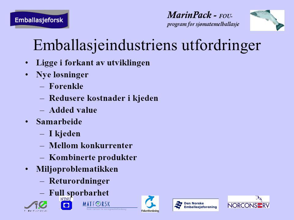 MarinPack - FOU- program for sjømatemelballasje Emballasjeindustriens utfordringer •Ligge i forkant av utviklingen •Nye løsninger –Forenkle –Redusere kostnader i kjeden –Added value •Samarbeide –I kjeden –Mellom konkurrenter –Kombinerte produkter •Miljøproblematikken –Returordninger –Full sporbarhet