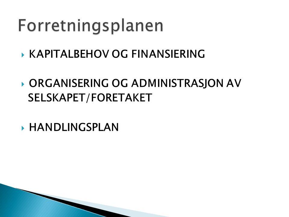  KAPITALBEHOV OG FINANSIERING  ORGANISERING OG ADMINISTRASJON AV SELSKAPET/FORETAKET  HANDLINGSPLAN
