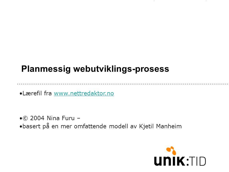 Planmessig webutviklings-prosess •Lærefil fra www.nettredaktor.nowww.nettredaktor.no •© 2004 Nina Furu – •basert på en mer omfattende modell av Kjetil Manheim