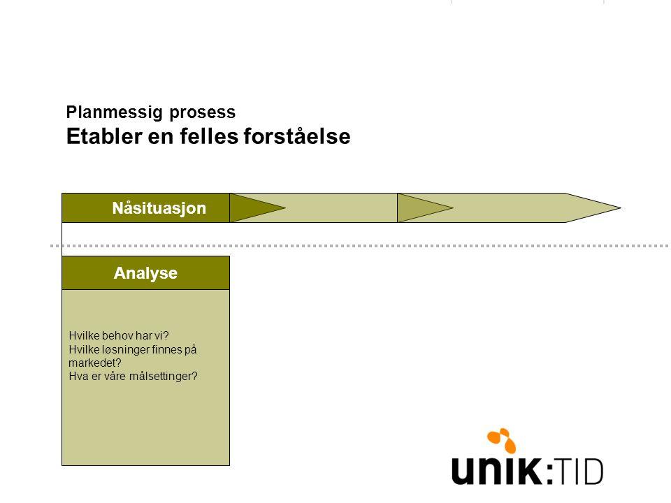 Planmessig prosess Etabler en felles forståelse Nåsituasjon Hvilke behov har vi.