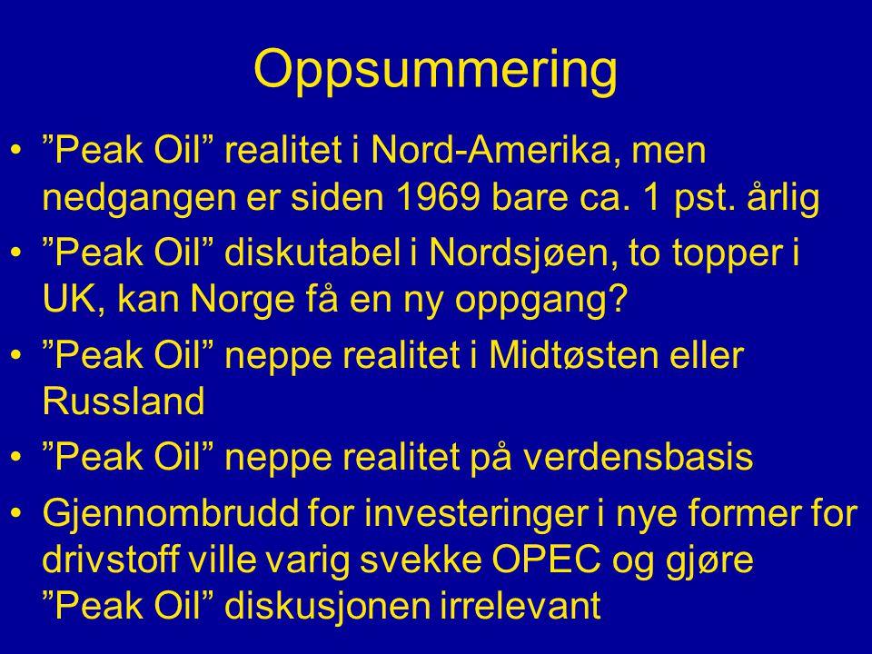 Oppsummering • Peak Oil realitet i Nord-Amerika, men nedgangen er siden 1969 bare ca.