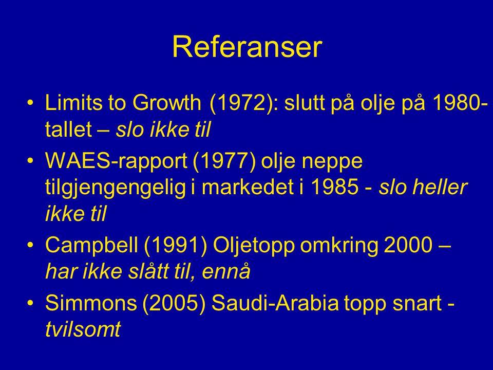 Referanser •Limits to Growth (1972): slutt på olje på 1980- tallet – slo ikke til •WAES-rapport (1977) olje neppe tilgjengengelig i markedet i 1985 - slo heller ikke til •Campbell (1991) Oljetopp omkring 2000 – har ikke slått til, ennå •Simmons (2005) Saudi-Arabia topp snart - tvilsomt