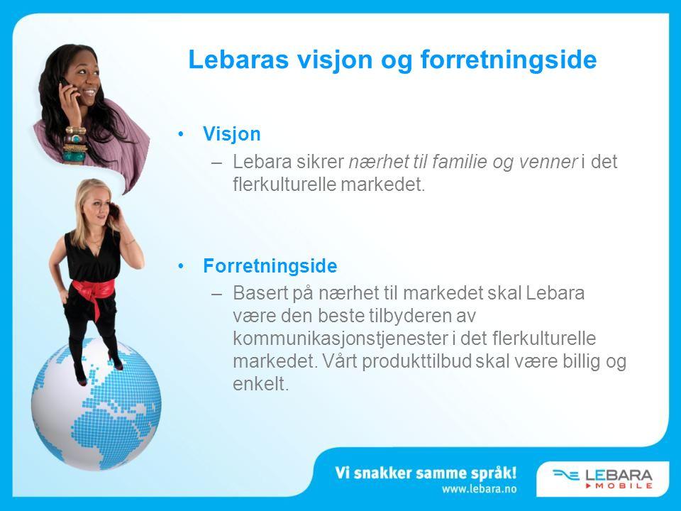•Visjon –Lebara sikrer nærhet til familie og venner i det flerkulturelle markedet. •Forretningside –Basert på nærhet til markedet skal Lebara være den