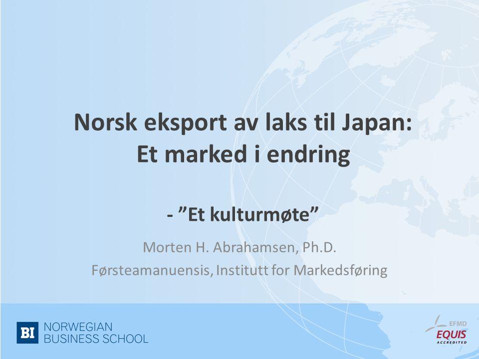 Litt om meg… • Førsteamanuensis på BI • Siviløkonom MSc • PhD i industriell markedsføring fra Manchester Business School • Forsker på relasjoner og nettverk i sjømatnæringen – Norsk laks i Japan – Sild og makrell i Russland, Tyskland, Polen og Japan