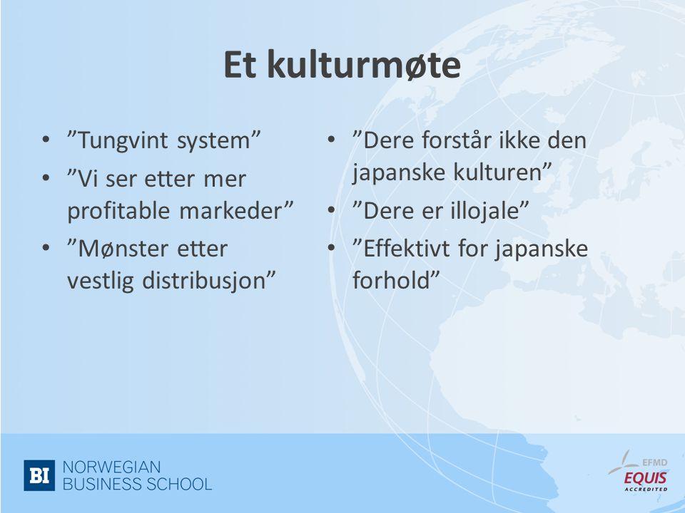 Et kulturmøte • Tungvint system • Vi ser etter mer profitable markeder • Mønster etter vestlig distribusjon • Dere forstår ikke den japanske kulturen • Dere er illojale • Effektivt for japanske forhold