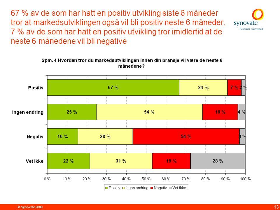 © Synovate 2008 13 67 % av de som har hatt en positiv utvikling siste 6 måneder tror at markedsutviklingen også vil bli positiv neste 6 måneder.