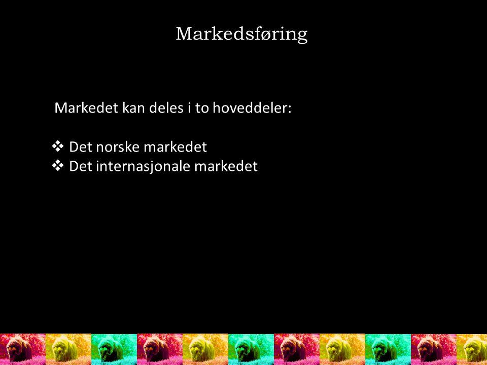 Markedet kan deles i to hoveddeler:  Det norske markedet  Det internasjonale markedet Markedsføring