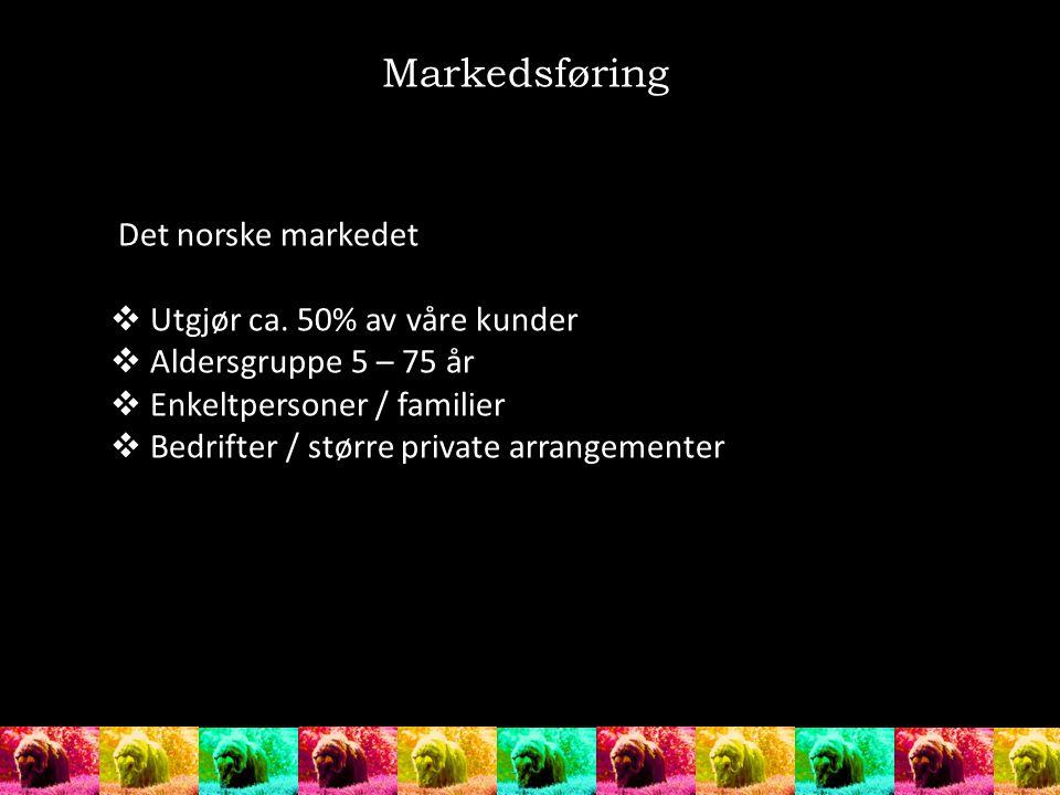 Det norske markedet  Utgjør ca. 50% av våre kunder  Aldersgruppe 5 – 75 år  Enkeltpersoner / familier  Bedrifter / større private arrangementer Ma