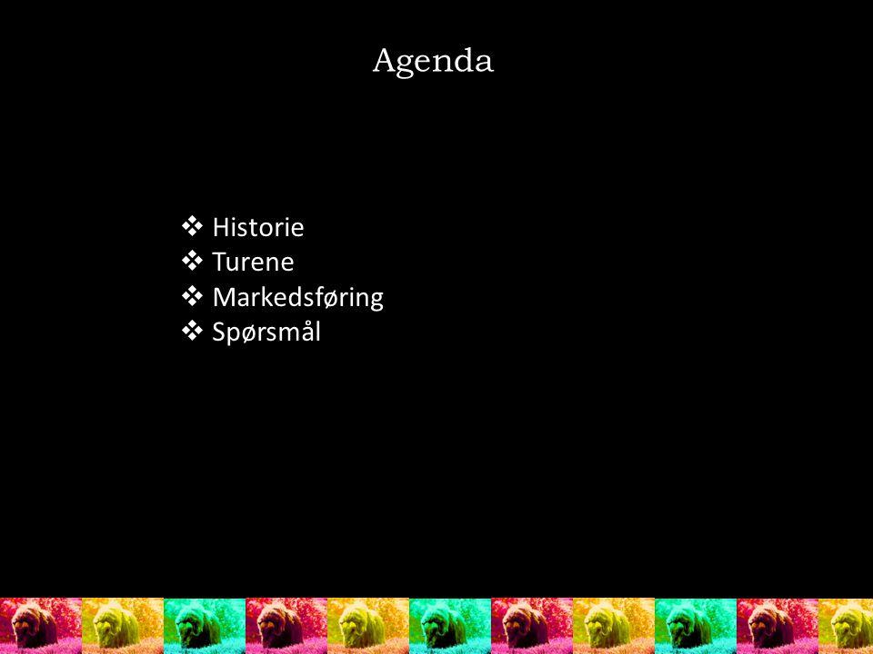  Historie  Turene  Markedsføring  Spørsmål Agenda