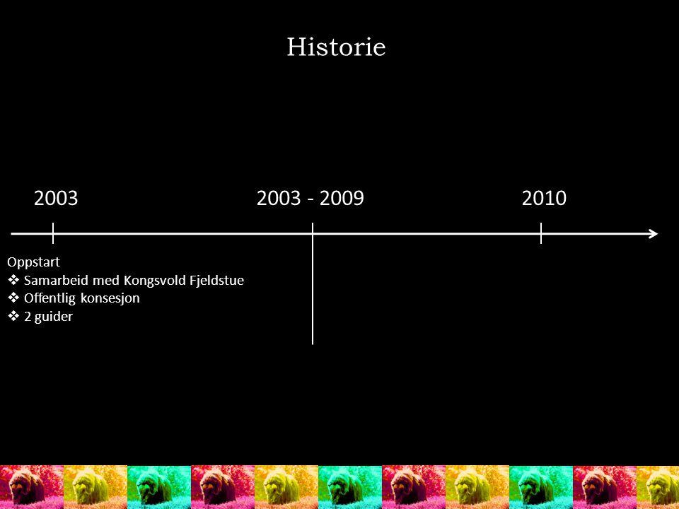 Historie 20032003 - 20092010 Oppstart  Samarbeid med Kongsvold Fjeldstue  Offentlig konsesjon  2 guider