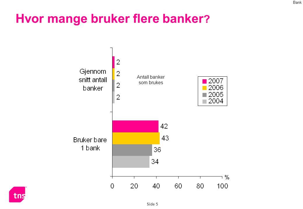 Side 5 Hvor mange bruker flere banker % Antall banker som brukes Bank