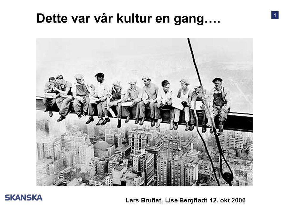 1 Dette var vår kultur en gang…. Lars Bruflat, Lise Bergflødt 12. okt 2006