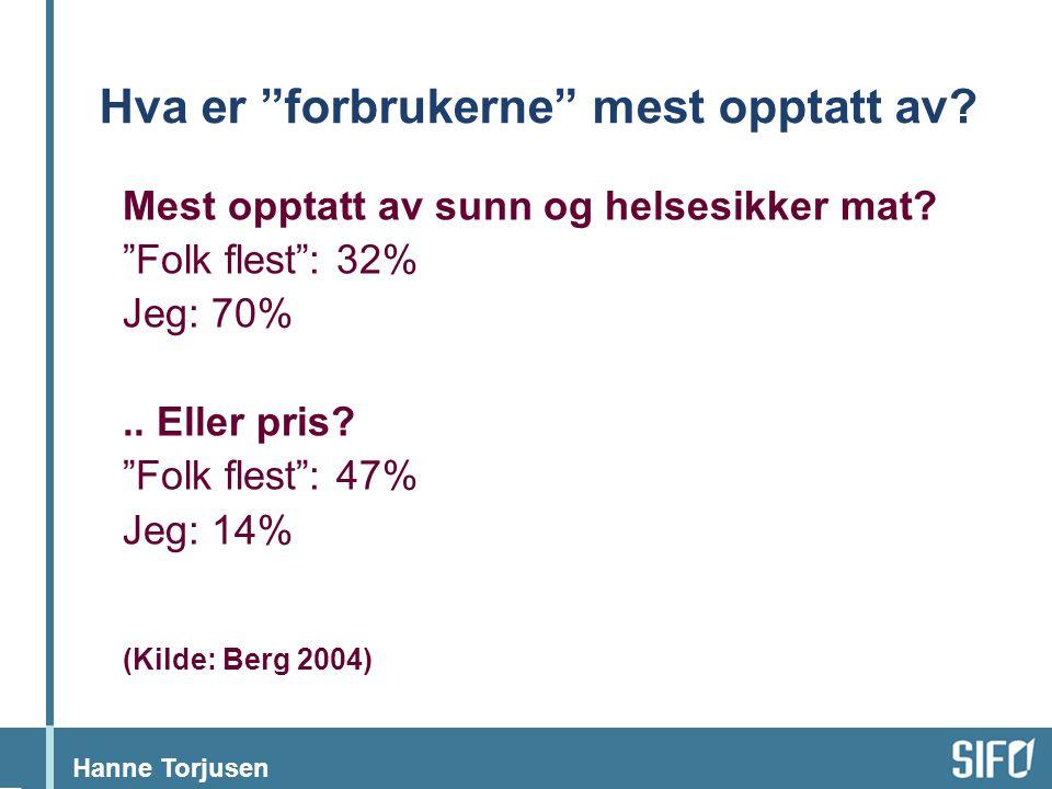 """Hanne Torjusen Hva er """"forbrukerne"""" mest opptatt av? Mest opptatt av sunn og helsesikker mat? """"Folk flest"""": 32% Jeg: 70%.. Eller pris? """"Folk flest"""": 4"""