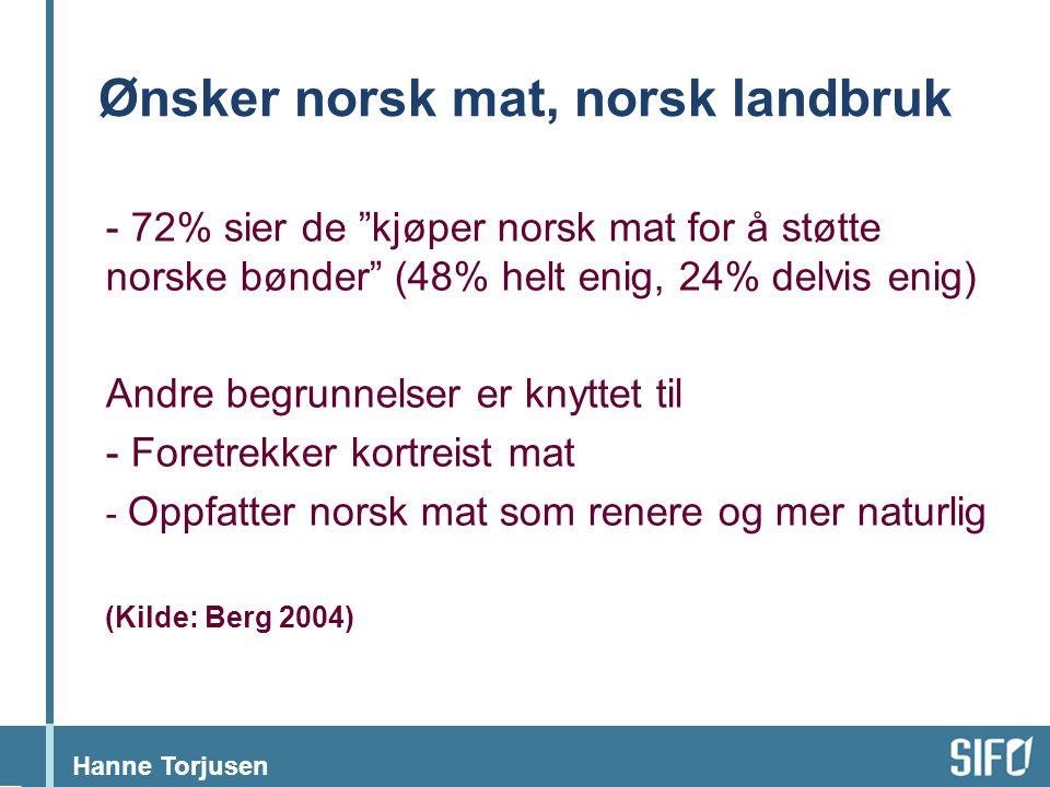 """Hanne Torjusen Ønsker norsk mat, norsk landbruk - 72% sier de """"kjøper norsk mat for å støtte norske bønder"""" (48% helt enig, 24% delvis enig) Andre beg"""
