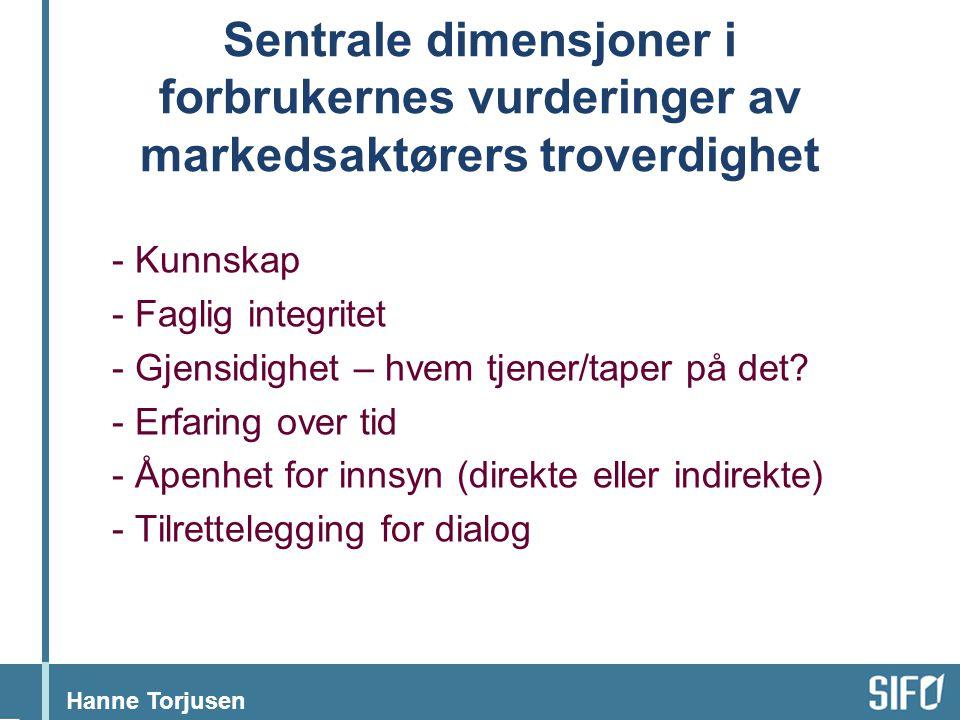 Hanne Torjusen Sentrale dimensjoner i forbrukernes vurderinger av markedsaktørers troverdighet - Kunnskap - Faglig integritet - Gjensidighet – hvem tj