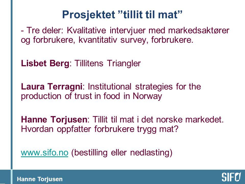 """Hanne Torjusen Prosjektet """"tillit til mat"""" - Tre deler: Kvalitative intervjuer med markedsaktører og forbrukere, kvantitativ survey, forbrukere. Lisbe"""