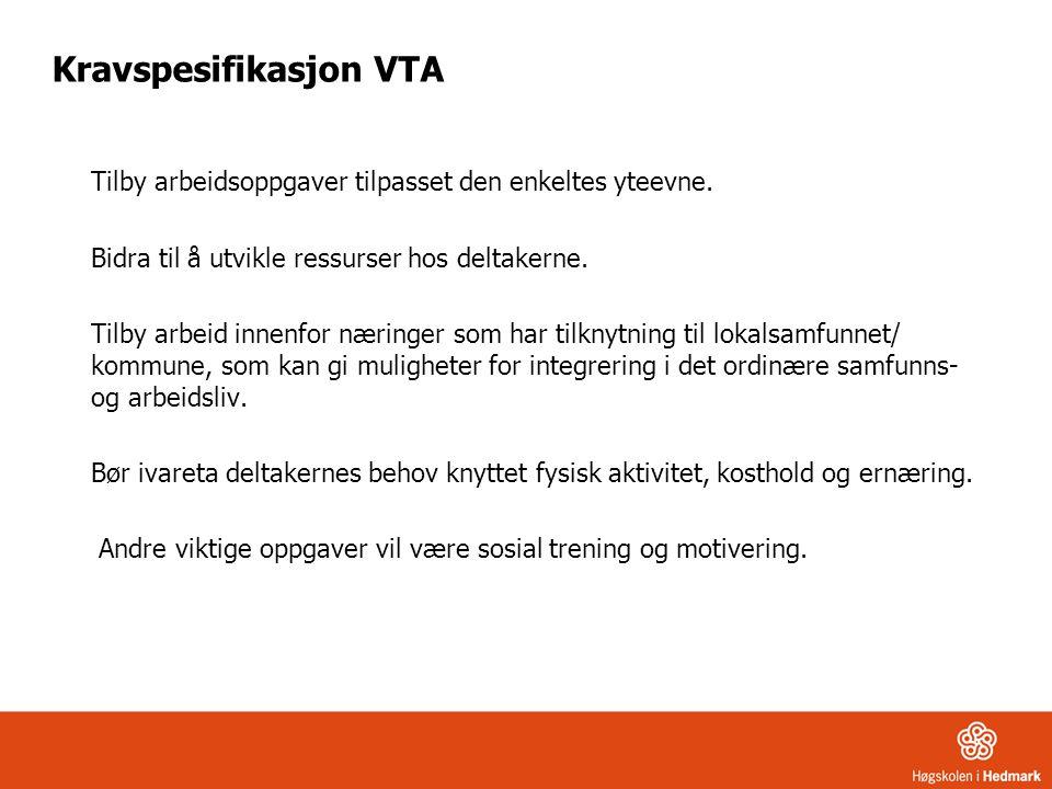 Kravspesifikasjon VTA Tilby arbeidsoppgaver tilpasset den enkeltes yteevne. Bidra til å utvikle ressurser hos deltakerne. Tilby arbeid innenfor næring