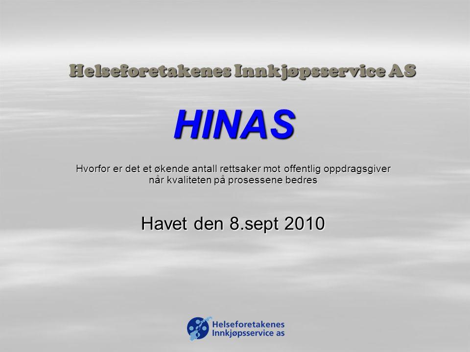 Helseforetakenes Innkjøpsservice AS HINAS Hvorfor er det et økende antall rettsaker mot offentlig oppdragsgiver når kvaliteten på prosessene bedres Havet den 8.sept 2010