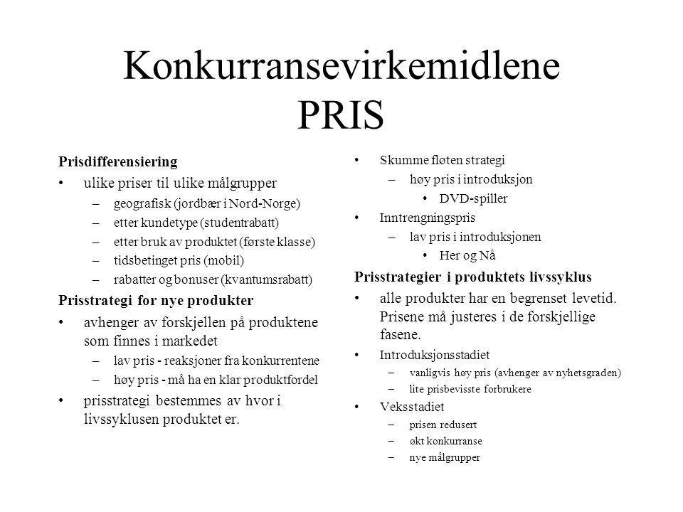 Konkurransevirkemidlene PRIS Prisdifferensiering •ulike priser til ulike målgrupper –geografisk (jordbær i Nord-Norge) –etter kundetype (studentrabatt