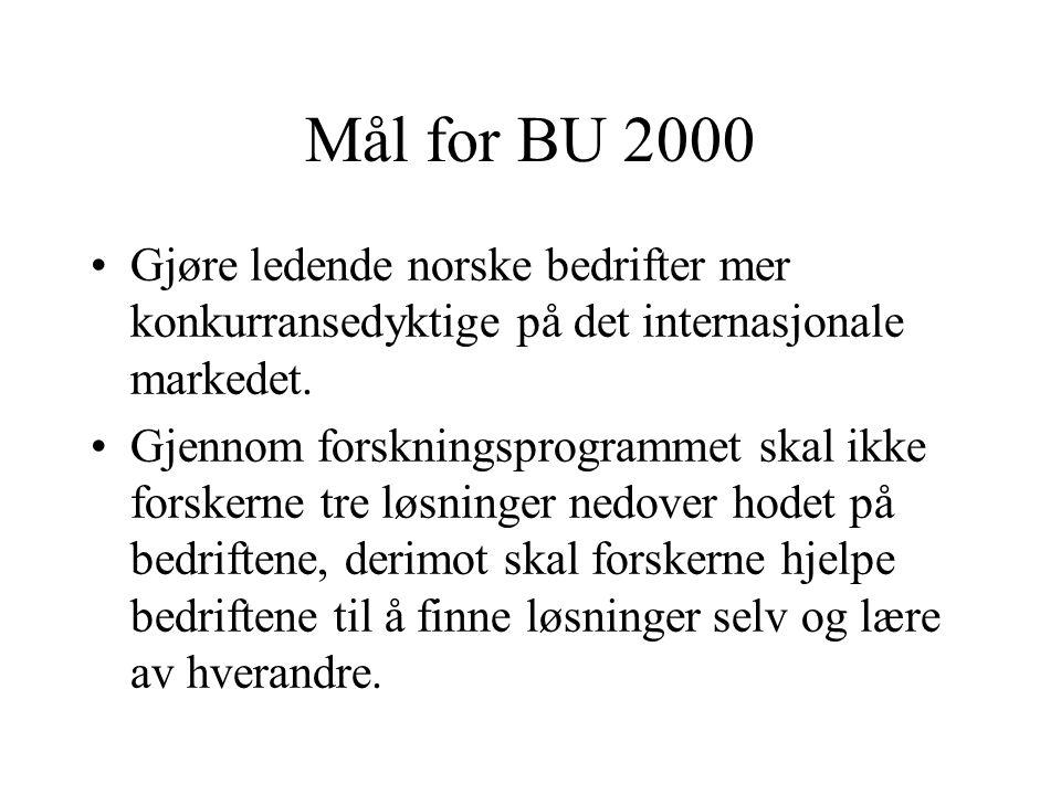 Mål for BU 2000 •Gjøre ledende norske bedrifter mer konkurransedyktige på det internasjonale markedet. •Gjennom forskningsprogrammet skal ikke forsker