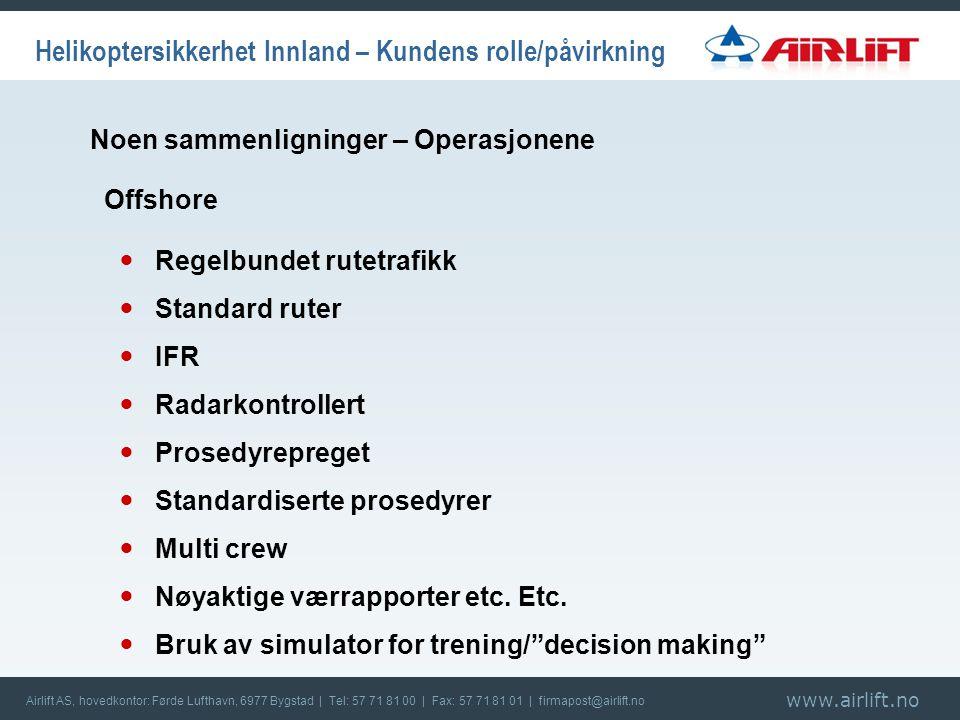 www.airlift.no Airlift AS, hovedkontor: Førde Lufthavn, 6977 Bygstad | Tel: 57 71 81 00 | Fax: 57 71 81 01 | firmapost@airlift.no Helikoptersikkerhet Innland – Kundens rolle/påvirkning  Regelbundet rutetrafikk  Standard ruter  IFR  Radarkontrollert  Prosedyrepreget  Standardiserte prosedyrer  Multi crew  Nøyaktige værrapporter etc.