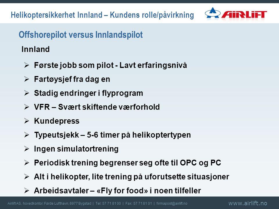 www.airlift.no Airlift AS, hovedkontor: Førde Lufthavn, 6977 Bygstad | Tel: 57 71 81 00 | Fax: 57 71 81 01 | firmapost@airlift.no Innland Helikoptersikkerhet Innland – Kundens rolle/påvirkning Offshorepilot versus Innlandspilot  Første jobb som pilot - Lavt erfaringsnivå  Fartøysjef fra dag en  Stadig endringer i flyprogram  VFR – Svært skiftende værforhold  Kundepress  Typeutsjekk – 5-6 timer på helikoptertypen  Ingen simulatortrening  Periodisk trening begrenser seg ofte til OPC og PC  Alt i helikopter, lite trening på uforutsette situasjoner  Arbeidsavtaler – «Fly for food» i noen tilfeller