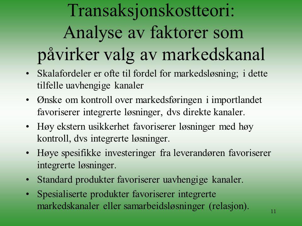 11 Transaksjonskostteori: Analyse av faktorer som påvirker valg av markedskanal •Skalafordeler er ofte til fordel for markedsløsning; i dette tilfelle