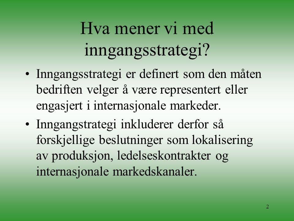 2 Hva mener vi med inngangsstrategi? •Inngangsstrategi er definert som den måten bedriften velger å være representert eller engasjert i internasjonale