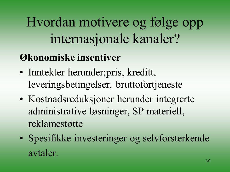 30 Hvordan motivere og følge opp internasjonale kanaler? Økonomiske insentiver •Inntekter herunder;pris, kreditt, leveringsbetingelser, bruttofortjene