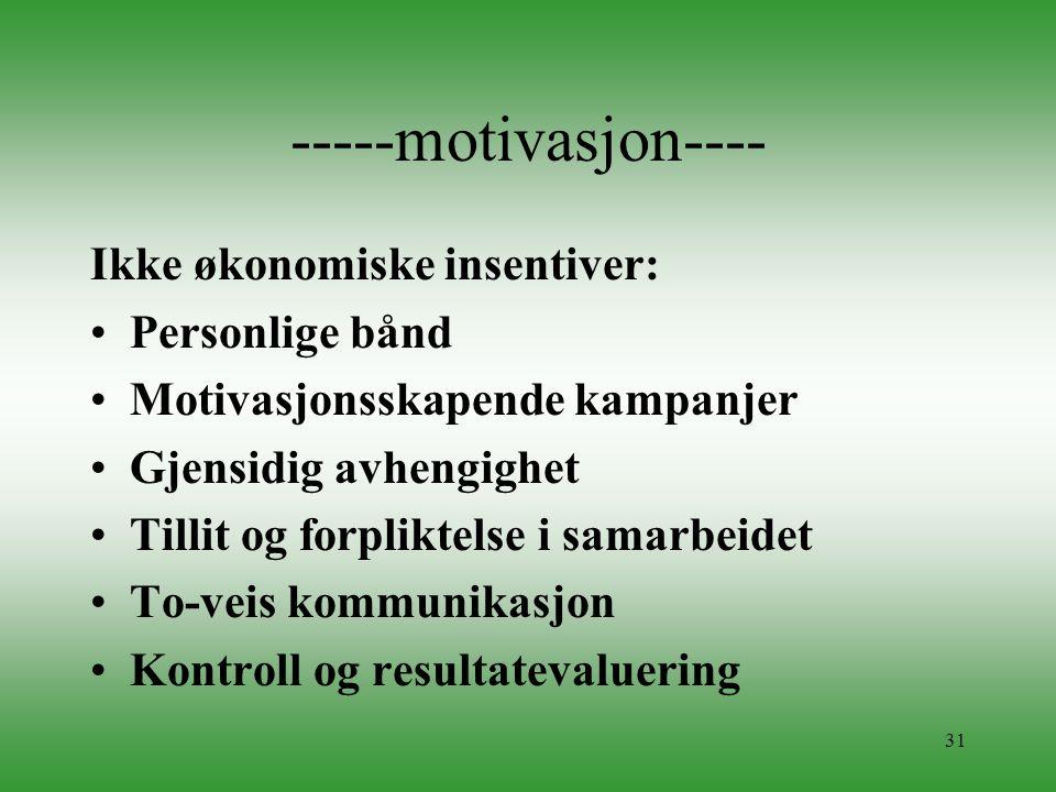 31 -----motivasjon---- Ikke økonomiske insentiver: •Personlige bånd •Motivasjonsskapende kampanjer •Gjensidig avhengighet •Tillit og forpliktelse i sa