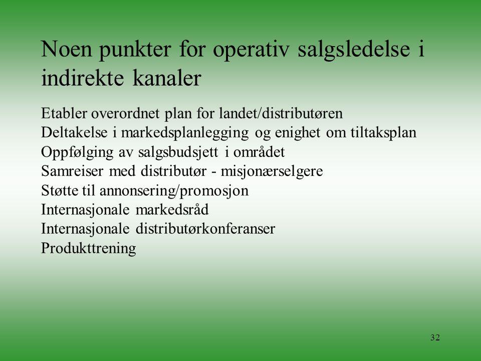 32 Noen punkter for operativ salgsledelse i indirekte kanaler Etabler overordnet plan for landet/distributøren Deltakelse i markedsplanlegging og enig