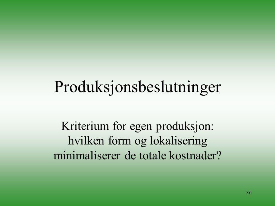 36 Produksjonsbeslutninger Kriterium for egen produksjon: hvilken form og lokalisering minimaliserer de totale kostnader?