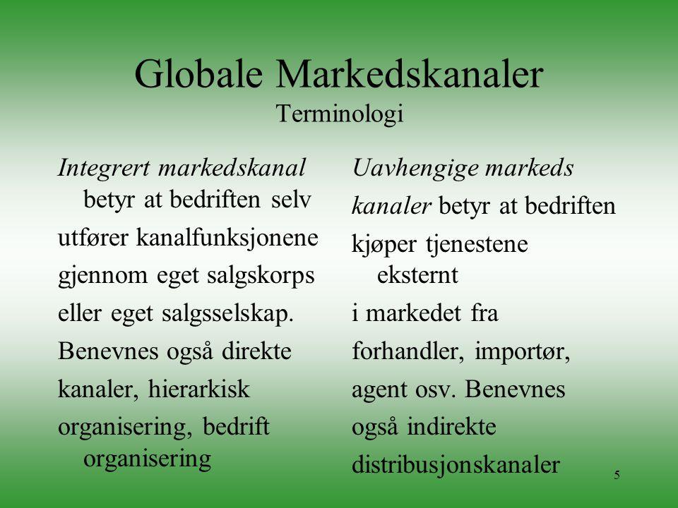 5 Globale Markedskanaler Terminologi Integrert markedskanal betyr at bedriften selv utfører kanalfunksjonene gjennom eget salgskorps eller eget salgss