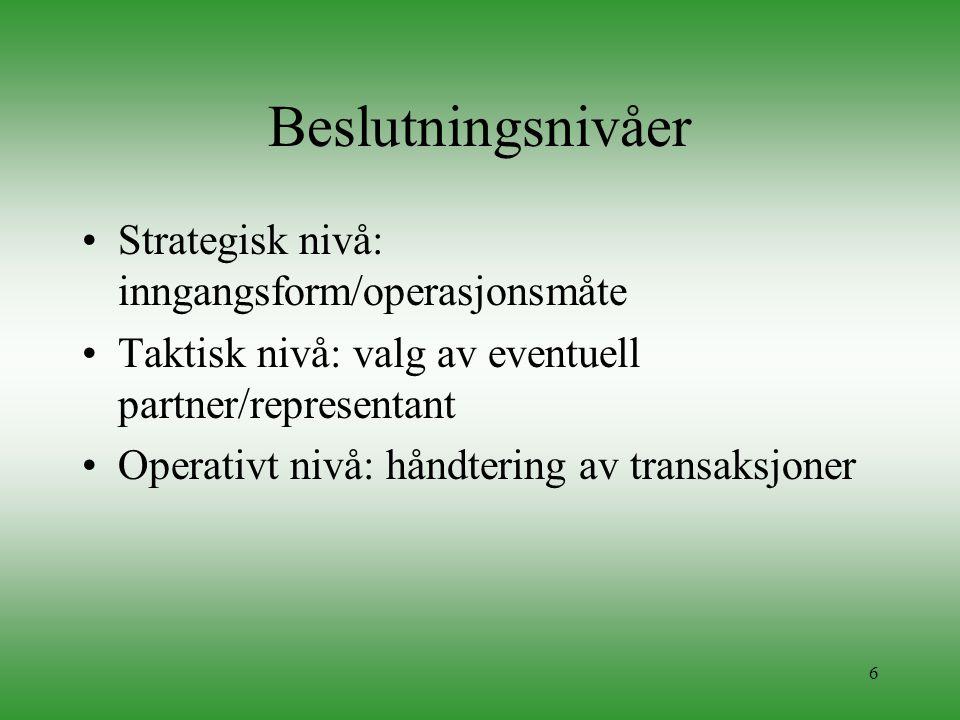 6 Beslutningsnivåer •Strategisk nivå: inngangsform/operasjonsmåte •Taktisk nivå: valg av eventuell partner/representant •Operativt nivå: håndtering av