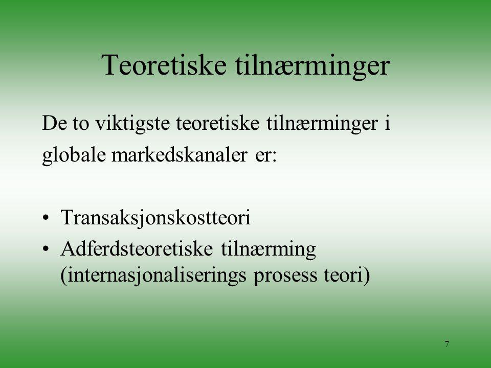 7 Teoretiske tilnærminger De to viktigste teoretiske tilnærminger i globale markedskanaler er: •Transaksjonskostteori •Adferdsteoretiske tilnærming (i