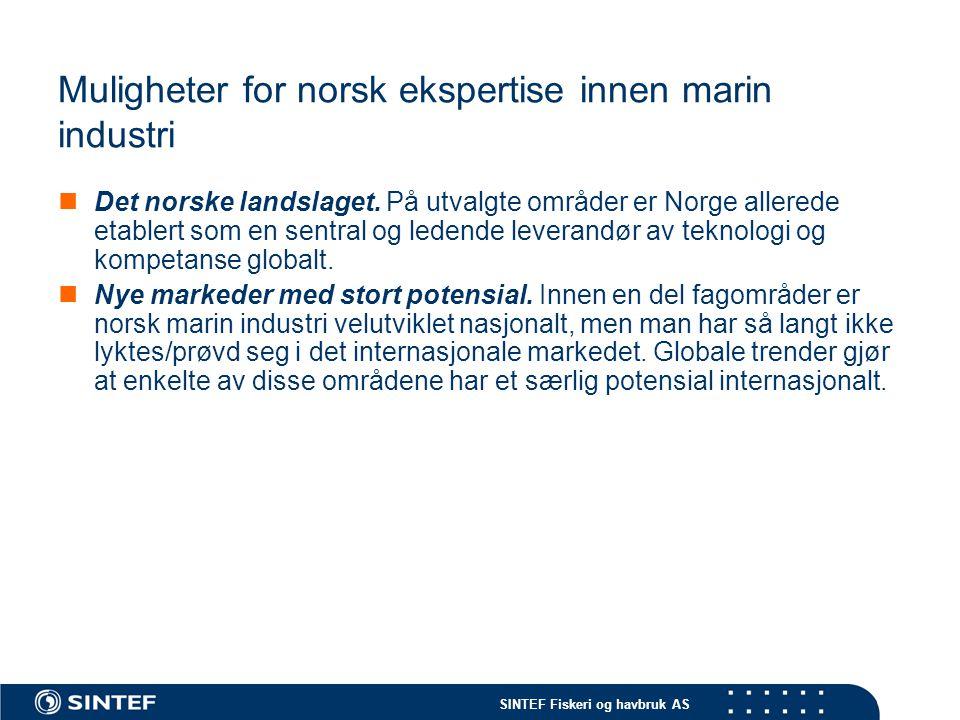 SINTEF Fiskeri og havbruk AS Muligheter for norsk ekspertise innen marin industri  Det norske landslaget. På utvalgte områder er Norge allerede etabl
