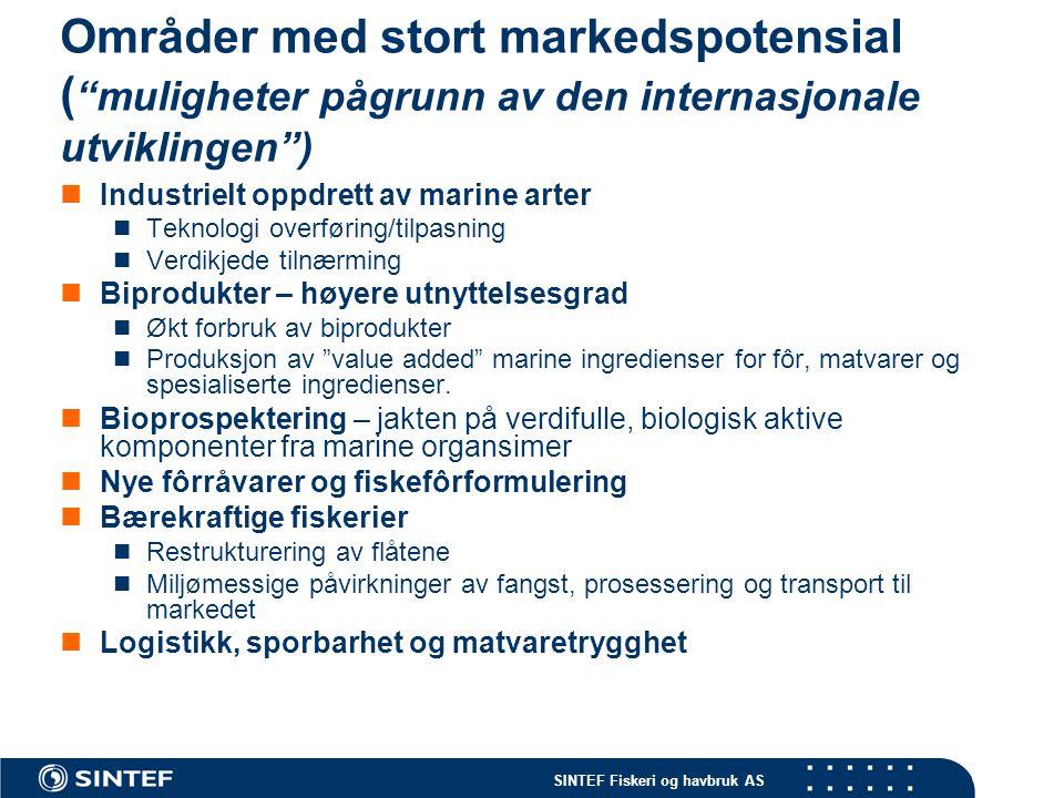 """SINTEF Fiskeri og havbruk AS Områder med stort markedspotensial ( """"muligheter pågrunn av den internasjonale utviklingen"""")  Industrielt oppdrett av ma"""