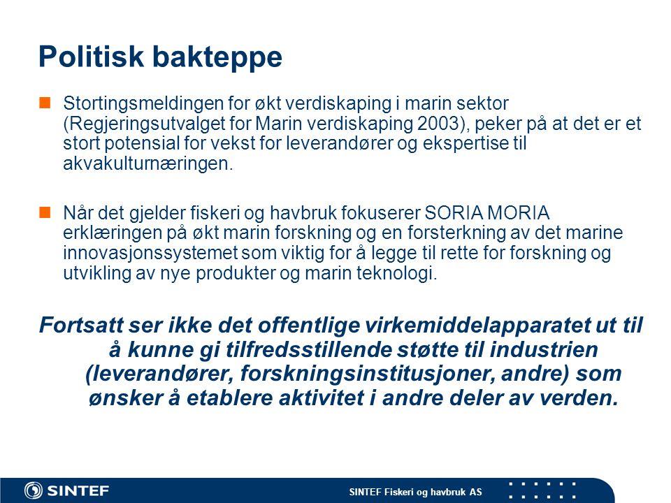 SINTEF Fiskeri og havbruk AS Politisk bakteppe  Stortingsmeldingen for økt verdiskaping i marin sektor (Regjeringsutvalget for Marin verdiskaping 200
