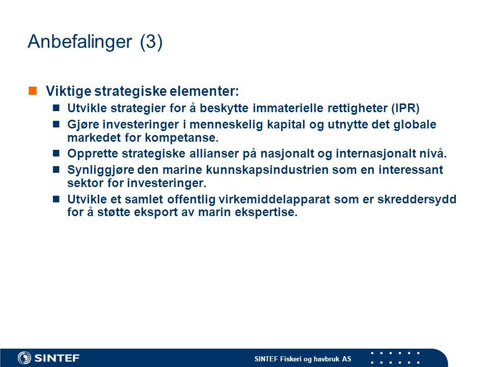 SINTEF Fiskeri og havbruk AS Anbefalinger (3)  Viktige strategiske elementer:  Utvikle strategier for å beskytte immaterielle rettigheter (IPR)  Gj