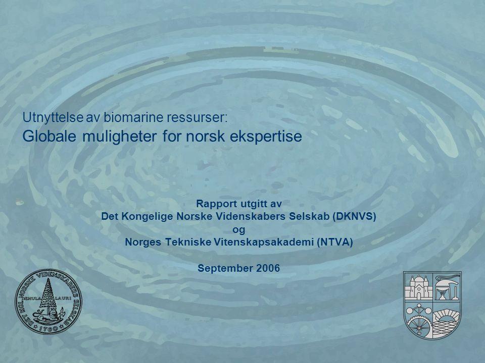 SINTEF Fiskeri og havbruk AS Bakgrunn  1999: DKNVS og NTVA : Norges muligheter for verdiskaping innen havbruk Fokus: •Produksjon og eksport av norsk biomarin ekspertise • 2006: DKNVS og NTVA: Utnyttelse av biomarine ressurser: Globale muligheter for norsk ekspertise