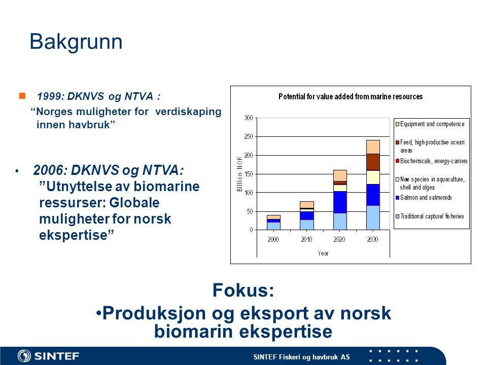 """SINTEF Fiskeri og havbruk AS Bakgrunn  1999: DKNVS og NTVA : """"Norges muligheter for verdiskaping innen havbruk"""" Fokus: •Produksjon og eksport av nors"""