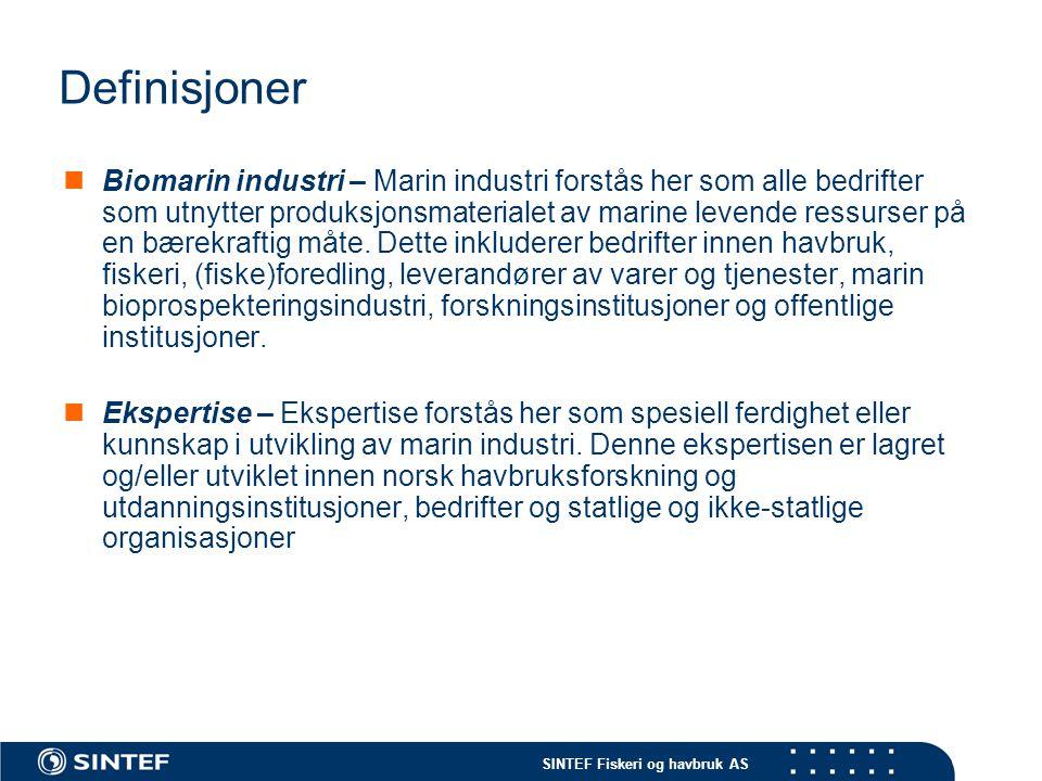 SINTEF Fiskeri og havbruk AS Produkter og tjenester fra den marine verdikjeden Deler av verdikjedenProdukterTjenester Kjerneaktiviteter: Fiskeflåten (fiskeriene)X OppdrettX Fiskeindustri (hovedprodukt)X Fiskeindustri (biprodukt)X(X) Salg/markedsføringX(X) Leverandører (generelt): Teknologi (fartøy, utstyr etc.)X(X) Avlsprodukter(X)X FôrX(X) Fiskehelseprodukter(X)X Finans X Forskningsinstitusjoner X Utdanningsinstitusjoner X Andre kunnskapsinstitusjoner (konsulenter, revisorer etc) X Organisasjoner X Forvaltning X